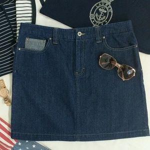 Vtg Tommy Hilfiger Patchwork Denim Blue Jean Skirt